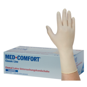 Jednorázové rukavice latexové nepudrované MED COMFORT chlorované - 100 ks