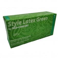 Jednorázové latexové rukavice nepudrované chlorované STYLE zelené - 100 ks