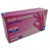 Jednorázové rukavice nitrilové nepudrované STYLE tmavě růžové (GRENADINE) - 100 ks