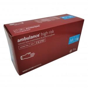 Jednorázové latexové rukavice nepudrované Ambulance high risk modré prodloužené, zesílené - 50 ks