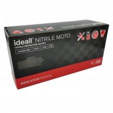Průmyslové nitrilové rukavice černé jednorázové MOTO - zesílené, 100 ks