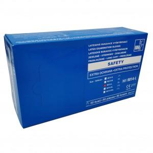 Jednorázové latexové rukavice nepudrované SAFETY modré prodloužené, zesílené - 50 ks